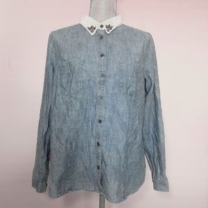 LOFT chambray button down with embellished collar